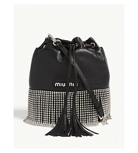 4215654f202 MIU MIU - Crystal fringe leather bucket bag   Selfridges.com