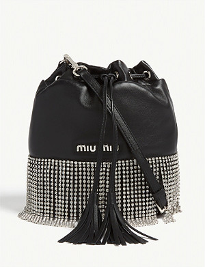 MIU MIU Crystal fringe leather bucket bag