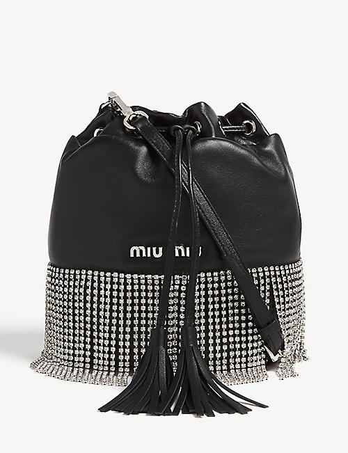 870785ce8b3d MIU MIU Crystal fringe leather bucket bag