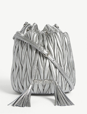 MIU MIU Matelassé quilted leather bucket bag