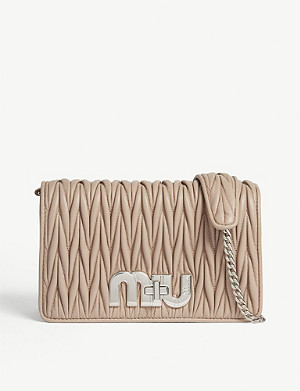 MIU MIU Logo matelassé small leather shoulder bag