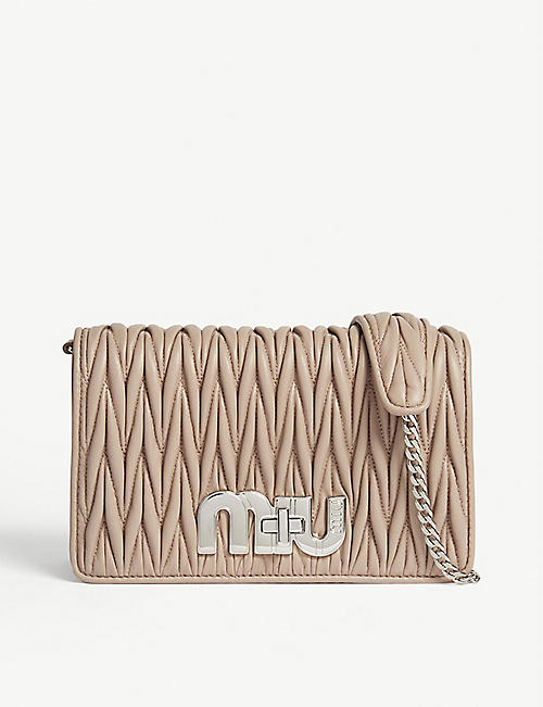 e5c21fee3d8d MIU MIU Logo matelassé small leather shoulder bag