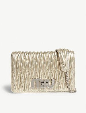 MIU MIU Metallic matelassé leather shoulder bag
