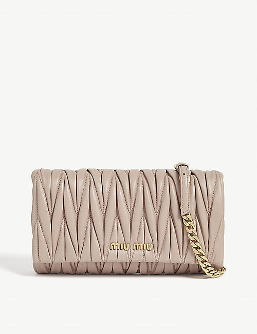 MIU MIU Matelassé quilted leather clutch bag