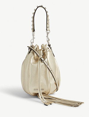 MIU MIU Drawstring leather bucket bag