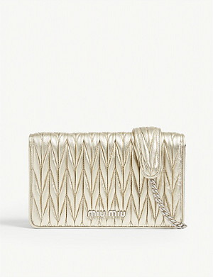 MIU MIU Délice Matelassé quilted metallic leather shoulder bag
