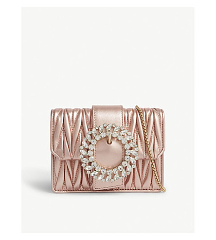 ... MIU MIU Crystal-embellished matelassé leather shoulder bag  (Metallic+pink. PreviousNext 0389ed3cc1590
