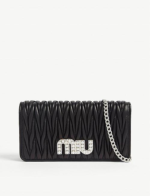 621a7b1ee3c8 MIU MIU Matelassé leather wallet-on-chain