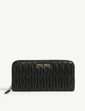 MIU MIU Matelasse leather zip purse