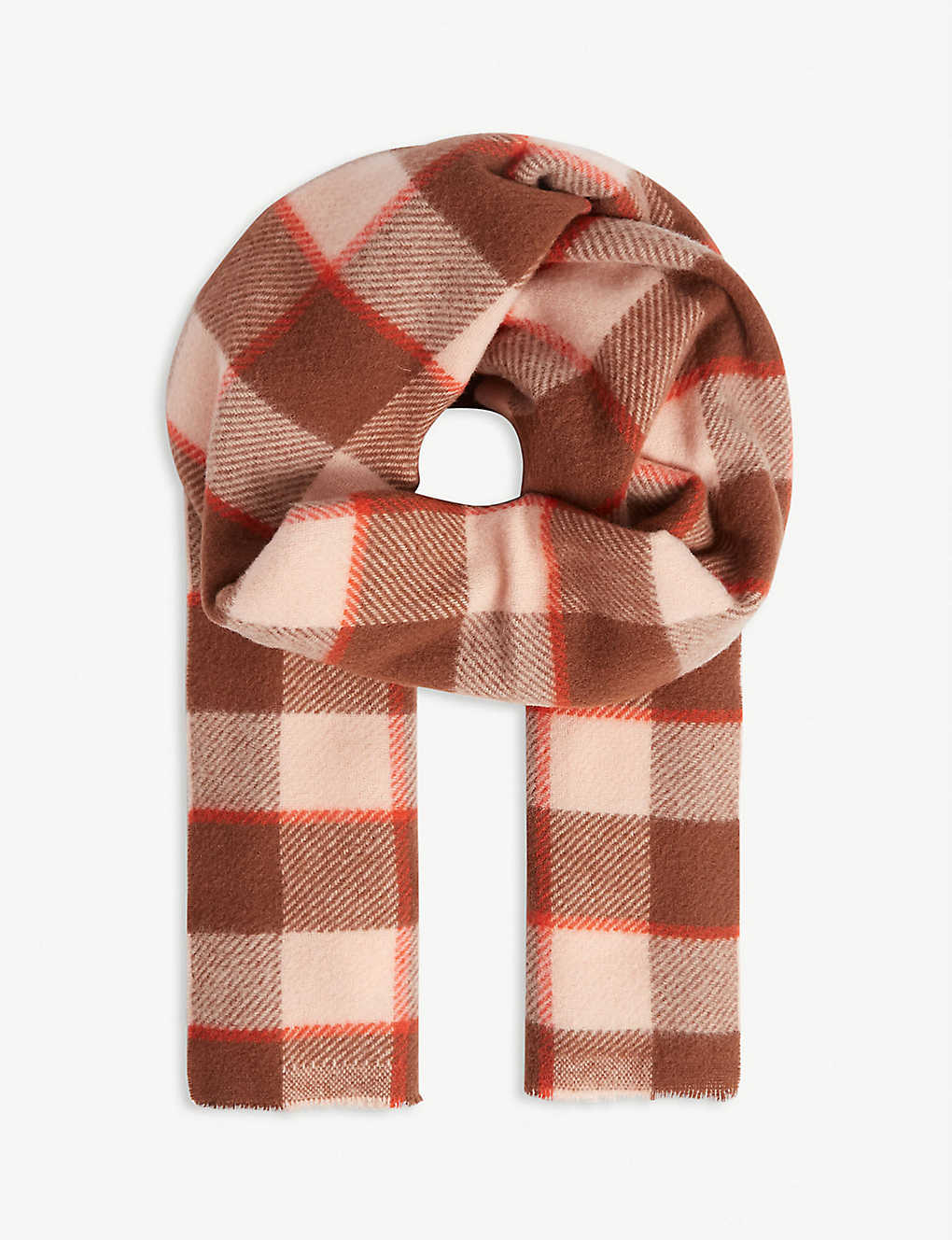 ACNE STUDIOS: Cassiar checked logo wool scarf