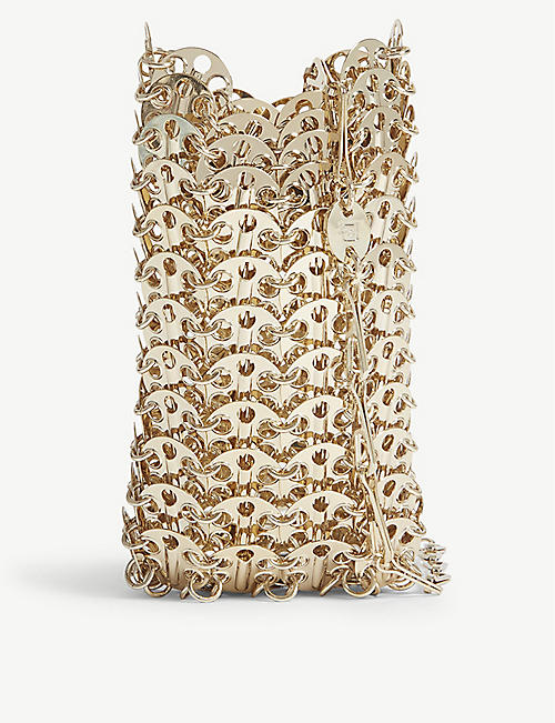 PACO RABANNE Mini gold-toned chain brass bag