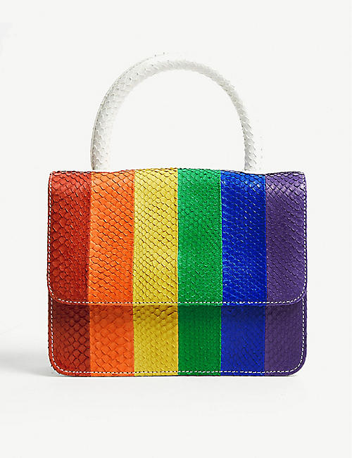 GELAREH MIZRAHI Python-embossed rainbow leather tote