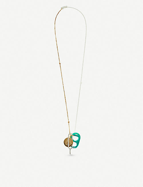 BIIS Combo Litter 18ct yellow-gold plated and sterling silver necklace