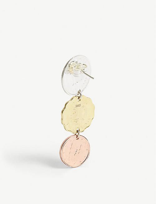 BIIS Coin drop earring