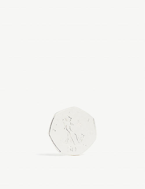 BIIS Pence coin-shaped sterling silver earring
