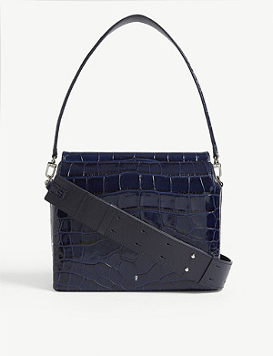 GU DE Duet croc-embossed leather shoulder bag