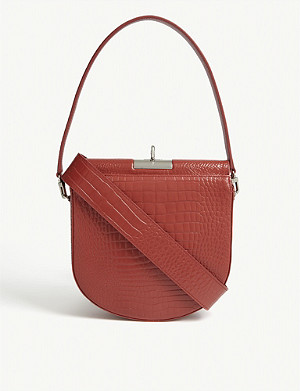 GU DE Demi Lune croc-embossed leather shoulder bag