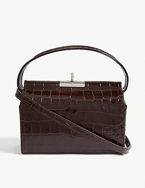 GU DE Croc-embossed Milky mini leather bag