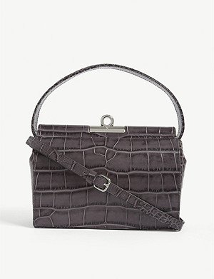 GU DE Milky croc-embossed leather top handle bag