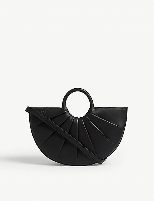 DLYP Pleated Bender leather mini crossbody bag