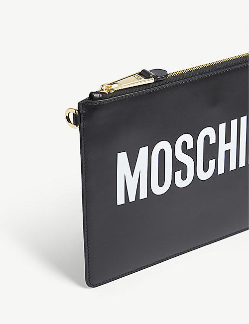 MOSCHINO Logo print leather pouch