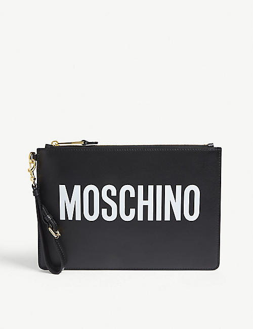 MOSCHINO: Logo print leather pouch