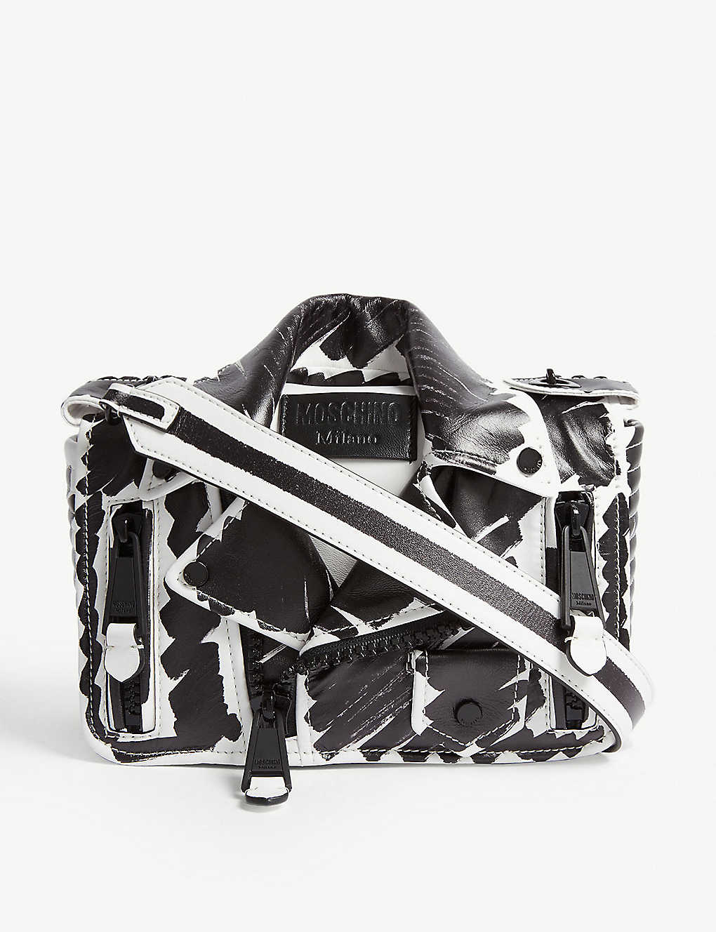 ef5ae9e34e MOSCHINO - Leather Biker jacket bag | Selfridges.com