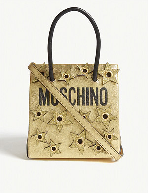 MOSCHINO Logo star appliqué metallic tote