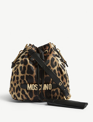 MOSCHINO Leopard print bucket shoulder bag