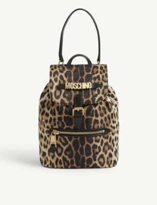 MOSCHINO Leopard print nylon backpack