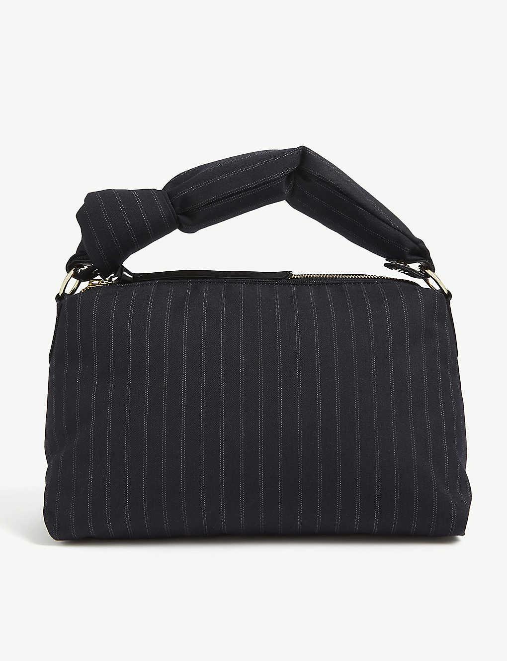 Dries Van Noten Shoulder Padded pinstripe shoulder bag