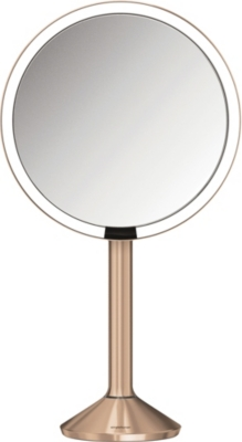 SIMPLE HUMAN 20cm rose gold-toned steel sensor mirror pro