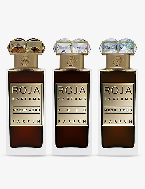 ROJA PARFUMS: Aoud Parfum De Voyage Set of three 30ml
