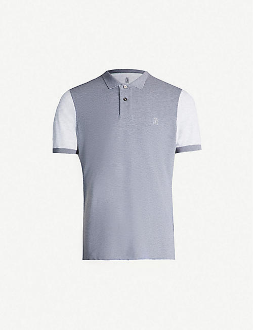 BRUNELLO CUCINELLI Contrast-sleeve cotton-piqué polo shirt
