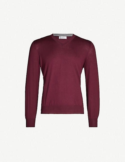 BRUNELLO CUCINELLI V-neck wool and cashmere-blend jumper