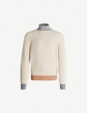 BRUNELLO CUCINELLI Roll-neck ribbed wool jumper