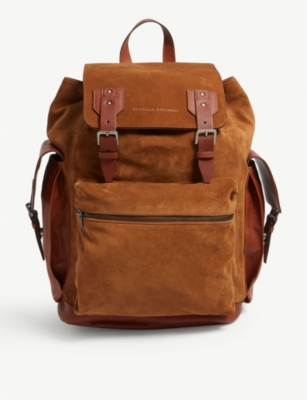 BRUNELLO CUCINELLI Textured leather and suede backpack