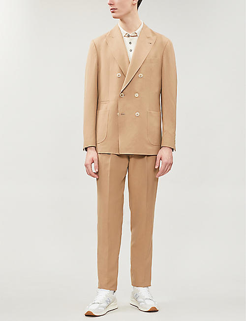 BRUNELLO CUCINELLI Double-breasted leisure-fit wool and linen-blend suit