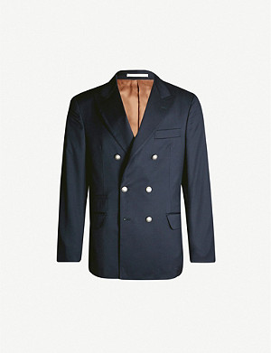 BRUNELLO CUCINELLI Regular-fit double-breasted wool-crepe jacket