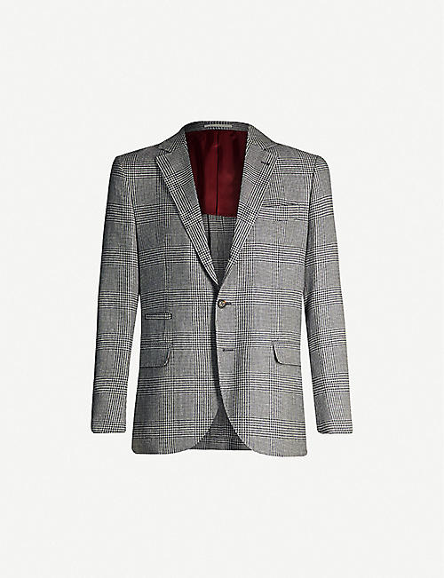 BRUNELLO CUCINELLI Checked wool and linen-blend jacket