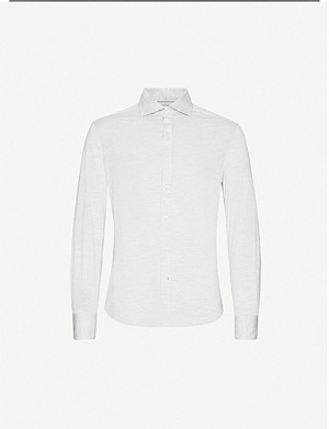 BRUNELLO CUCINELLI Slim-fit silk and cotton-blend shirt