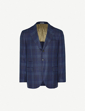 BRUNELLO CUCINELLI Checked single-breasted linen-wool-silk blend blazer