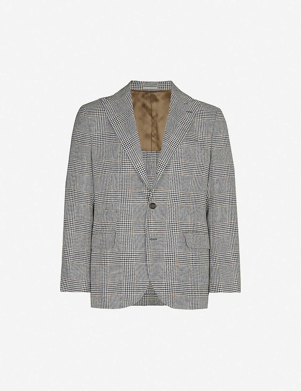 BRUNELLO CUCINELLI: Houndstooth wool, linen and silk-blend blazer