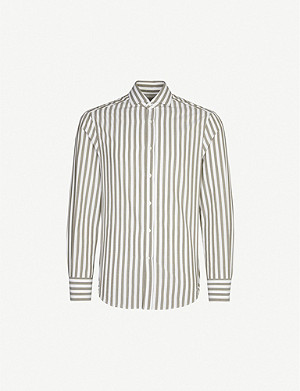 BRUNELLO CUCINELLI Slim-fit striped cotton shirt