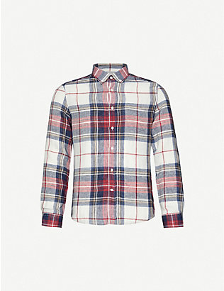 BRUNELLO CUCINELLI: Checked linen shirt