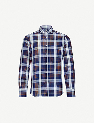 BRUNELLO CUCINELLI Checked cotton-linen blend shirt
