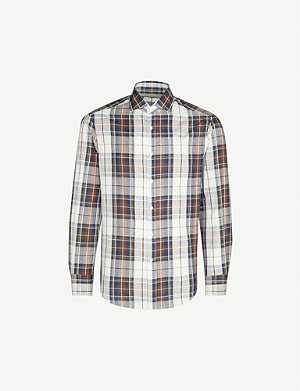 BRUNELLO CUCINELLI Checked cotton and linen-blend shirt