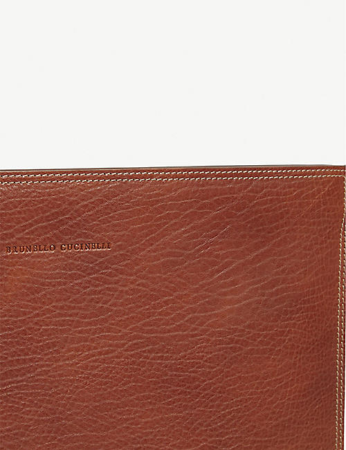BRUNELLO CUCINELLI Pebbled leather document case