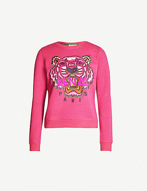 0a6e9fa8e96 KENZO Tiger-embroidered cotton-jersey sweatshirt