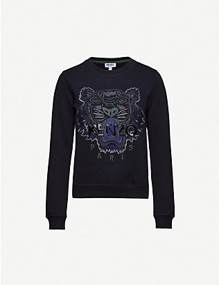 KENZO: Tiger-embroidered cotton-jersey sweatshirt